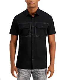 INC Men's Snap-Front Mixed Media Shirt, Created for Macy's