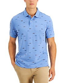Men's Fish Print Performance Stretch Polo, Created for Macy's