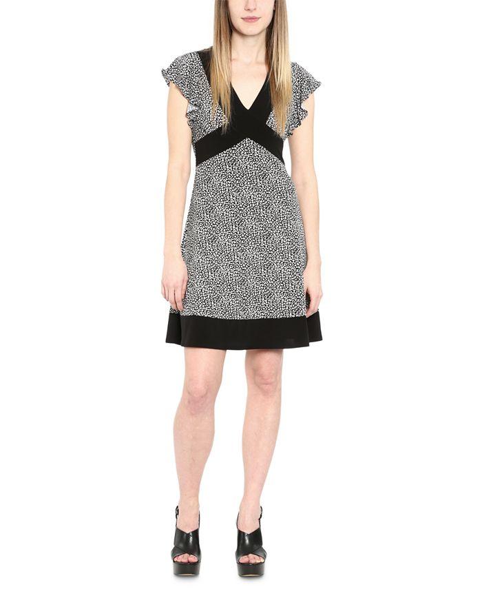 Michael Kors - Plus Size Cheetah-Print Contrast-Border Dress