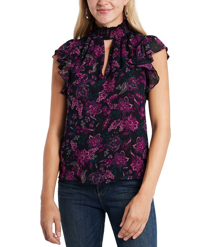 1.STATE Floral-Printed Smocked Flutter-Sleeve Blouse