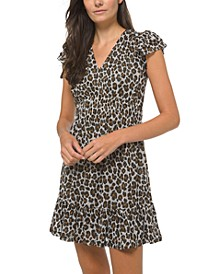 Plus Size Flounce-Sleeve Cheetah-Print A-Line Dress