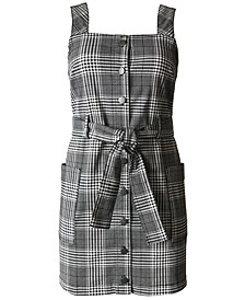 Juniors' Plaid Belted Overalls Dress