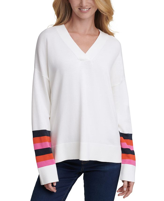 Tommy Hilfiger - Striped-Sleeve Sweater