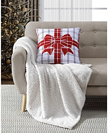 """20"""" x 20"""" Bow Wrapped Reversible Decorative Pillow"""