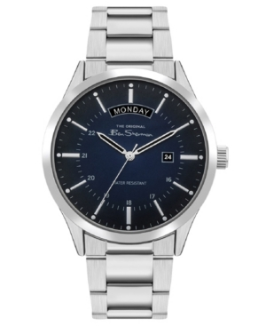 Men's Silver-Tone Stainless Steel Classic Three Hand Watch