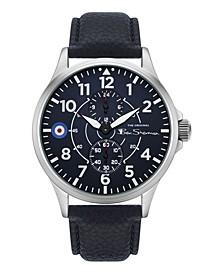 Men's Blue Genuine Leather Strap Multifunction Watch, 44mm