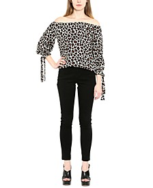 Cotton Animal-Print Off-The-Shoulder Top