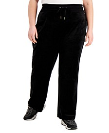 Plus Size Velour Wide-Leg Pants