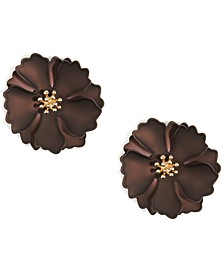 18k Gold-Plated Suede-Painted Flower Stud Earrings