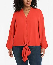 Plus Size Tie-Front Blouse