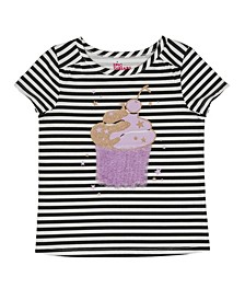 Toddler Girls Short Sleevecupcake Striped Graphic Mix and Match Tee