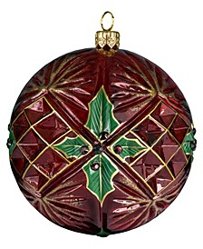 Glitterazzi Holly Berry Ball with Crystal Cuts Ornament