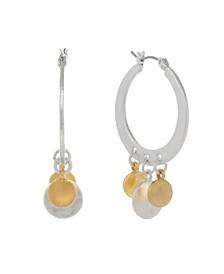 Two Tone Dangles Hoop Earrings