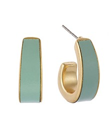 Gold-Tone Leather Inlay Clip Hoop Earrings