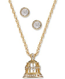 Gold-Tone Crystal Bell Pendant Necklace & Stud Earrings Set, Created for Macy's