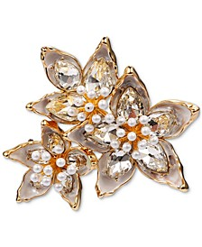 Gold-Tone Crystal & Imitation Pearl Poinsettia Pin, Created for Macy's