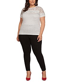 Plus Size Striped Lace-Yoke Top