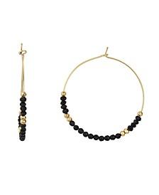 Fine Silver Plated Bead Hoop Earrings in Genuine Amethyst, Rose Quartz, Onyx or Lapis Lazuli