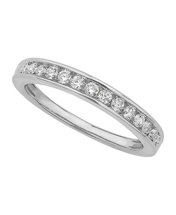 Macy's Certified Diamond Channel Band 1/4 ct. t.w. in 14k White or Yellow Gold