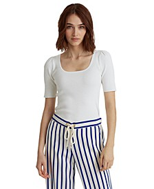 Cotton-Blend Puff-Sleeve Top