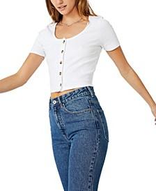 Leni Button Through Short Sleeve Top