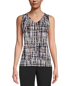 Abstract-Print Sleeveless Top