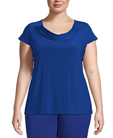 Kasper Plus Size Cowlneck Short-Sleeve Top