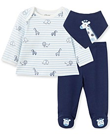 Little  Me Baby Boy and Girl Safari Stripe Set with Bib