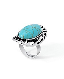 Simulated Turquoise in Fine Silver Plated Oval Stripe Design Ring