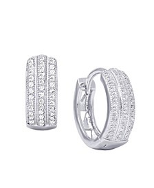 Cubic Zirconia 3-Row Huggie Hoop Earrings