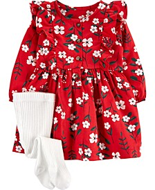 Baby Girl 2-Piece Dress & Tights Set