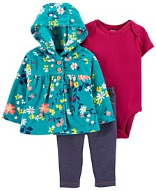 Baby Girl 3-Piece Floral Little Cardigan Set