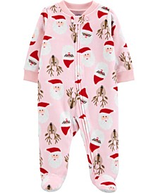 Baby Girl Christmas Zip-Up Fleece Sleep & Play