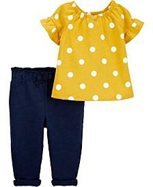 Baby Girl 2-Piece Polka Dot Top & Slub Jersey Pant Set