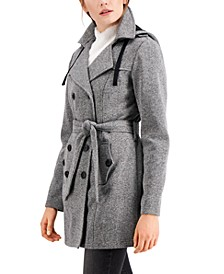 Juniors' Solid Double-Breasted Belted Fleece Coat