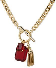 "Stone & Chain Tassel Charm 16"" Pendant Necklace"