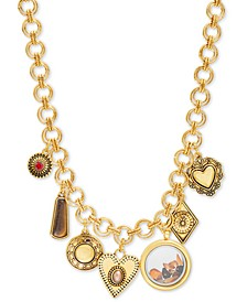 """Gold-Tone Crystal & Stone Multi-Charm 20"""" Statement Necklace"""