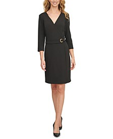 Faux-Wrap Dress With Hardware Detail