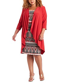 Plus Size 2-Pc. Draped Jacket & Printed Dress Set