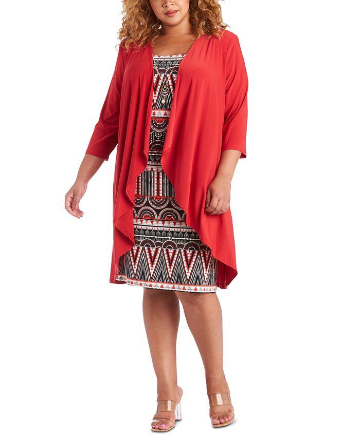 R & M Richards - Plus Size 2-Pc. Draped Jacket & Printed Dress Set