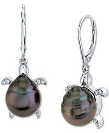 Cultured Tahitian Pearl (10mm) & Diamond (1/10 ct. t.w.) Sea Turtle Drop Earrings in Sterling Silver