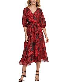 Printed Balloon-Sleeve Faux-Wrap Dress