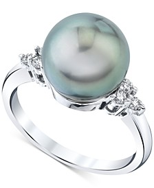 Cultured Tahitian Pearl (10mm) & Diamond (1/6 ct. t.w.) Ring in 14k White Gold
