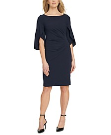 3/4 Tulip Sleeve Side Ruche Sheath Dress