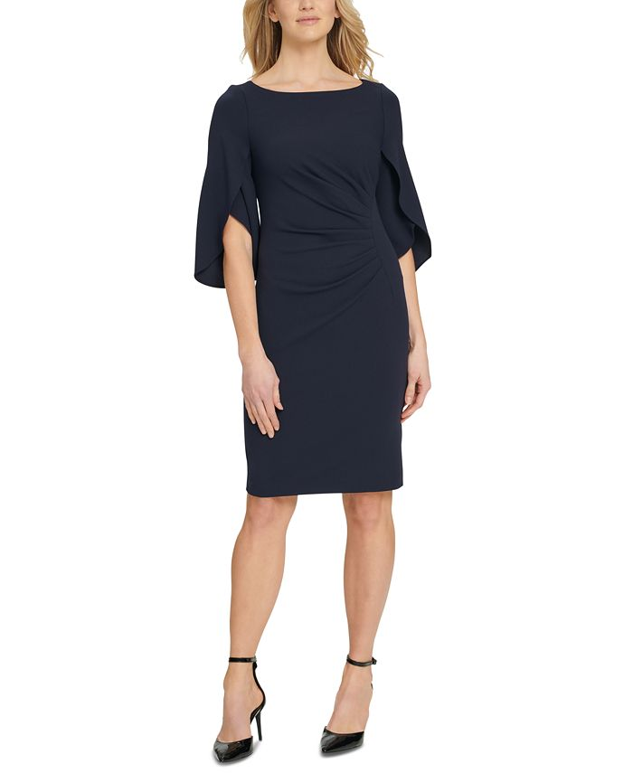 DKNY - 3/4 Tulip Sleep Side Ruche Sheath Dress