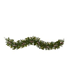 Snow Tipped Artificial Christmas Garland with 50 Warm LED Lights and Berries