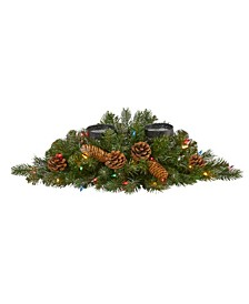 Flocked and Glittered Artificial Christmas Double Candelabrum with 35 Lights and Pine Cones