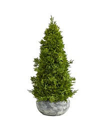 Cypress Cone Artificial Tree in Decorative Planter