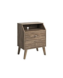 Milo Mid Century Modern 2 Drawer Nightstand with Angled Top