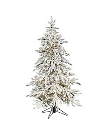 Flocked Grand Northern Rocky Fir Artificial Christmas Tree with 650 Warm Micro Multifunction with Remote Control LED Lights, Instant Connect Technology and 386 Bendable Branches